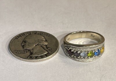 10k White Gold Multi-Gemstone Ring SZ 6.75