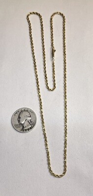 14k Gold 21in Rope Necklace Diamond Cut