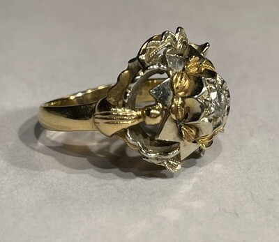 18k White/Yellow Gold Diamond Ring Italy SZ 6.5