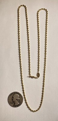 14k Gold 24in Rope Necklace