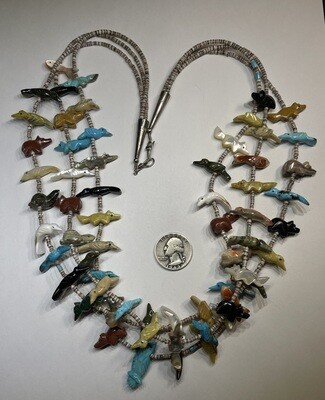 Native American Vintage Zuni Fetish Necklace 3-Strand