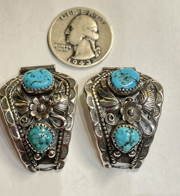Silver & Turquoise Navajo Watch Band Tips Vintage Signed