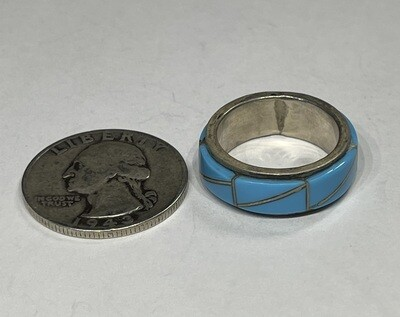 Zuni Sterling Silver & Turquoise Inlay Ring