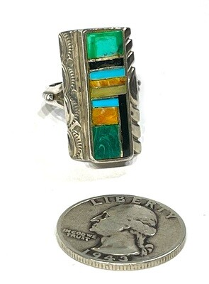 Vintage Zuni Ring Sterling Silver Turquoise Multi Stone Ring Signed AB Native American