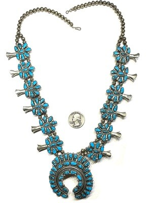 Vintage Native American Squash Blossom Necklace Turquoise Sterling Silver Signed