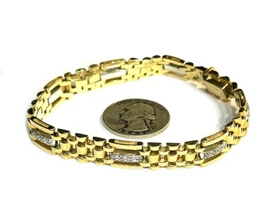 10k White/Yellow Gold & Diamond Bracelet