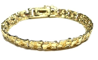 14k Gold Nugget Bracelet 6.5in Ladies