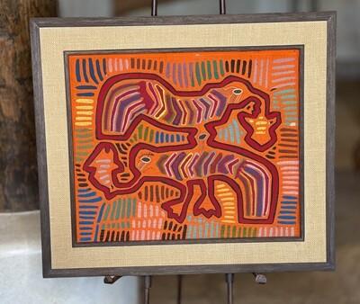 #2 Mola Kuna Indian Tribe Framed Tapestry Art San Blas Islands Panama Framed