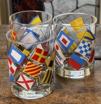3pc Georges Briard NAUTICAL Flags Highball ROCKS Glass