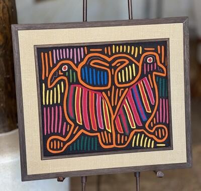 #4 Mola Kuna Indian Tribe Framed Tapestry Art San Blas Islands Panama Framed