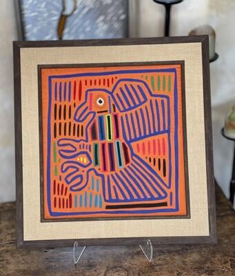 #1 Mola Kuna Indian Tribe Framed Tapestry Art San Blas Islands Panama Framed