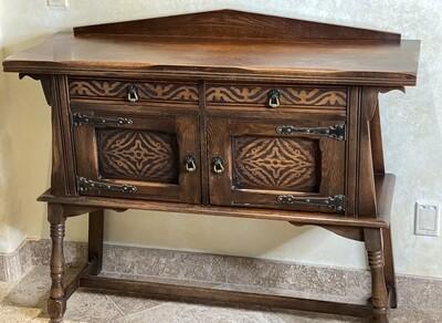 Antique Kuchins Furniture Oak Sideboard Cabinet