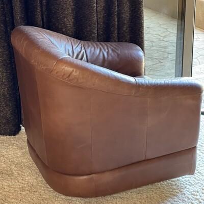#3 Robb & Stucky Leather Club Swivel Chair