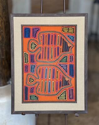 #3 Mola Kuna Indian Tribe Framed Tapestry Art San Blas Islands Panama Framed