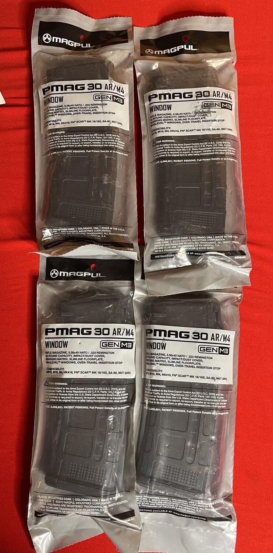 4 Pack Magpul PMag 30 AR/M4 Gen M3 30 Round Magazines Sealed