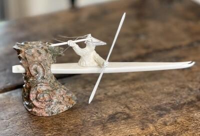 eskimo-Aleut hunter sculpture Ivory and Soapstone Michael Mandregan