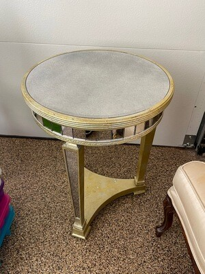 Circular mirrored and table/lampstand