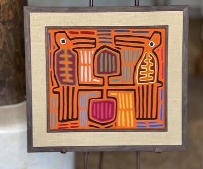 #5 Mola Kuna Indian Tribe Framed Tapestry Art San Blas Islands Panama Framed