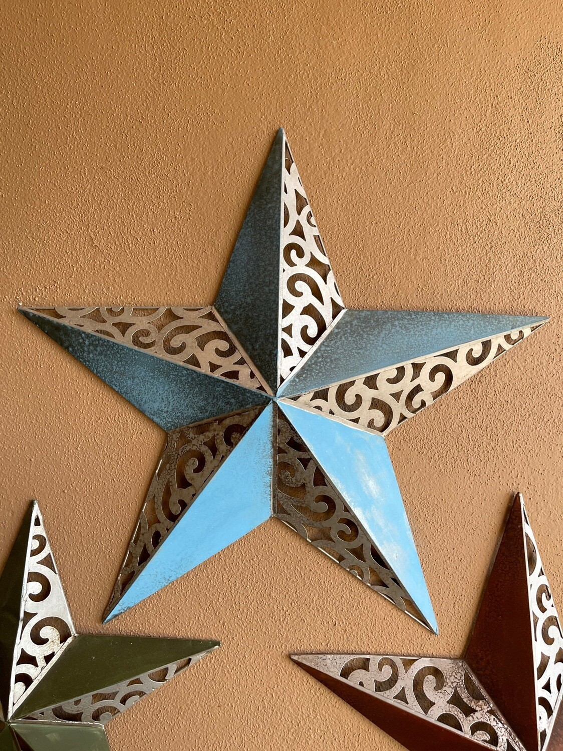 Large blue and metal colored star outdoor wall art decor