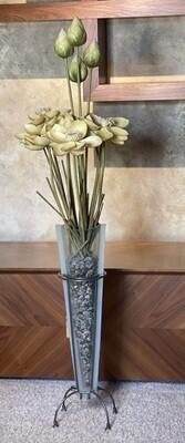 Faux Flower Decor Glass/Iron Vase
