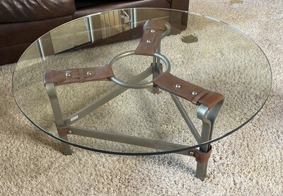 Leather Strap Iron & Glass coffee table