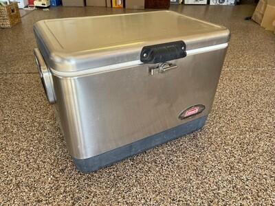 COLEMAN Stainless Steel Belted 54 Quart Cooler / Ice Chest ~ Model 6150 6155