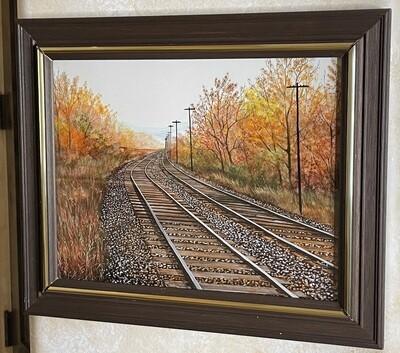 *Original* Art Herbert Weintraub Train Tracks Painting