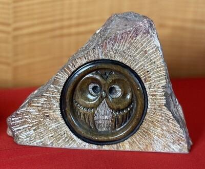 Glenn Heath Carved Stone Owl Sculpture