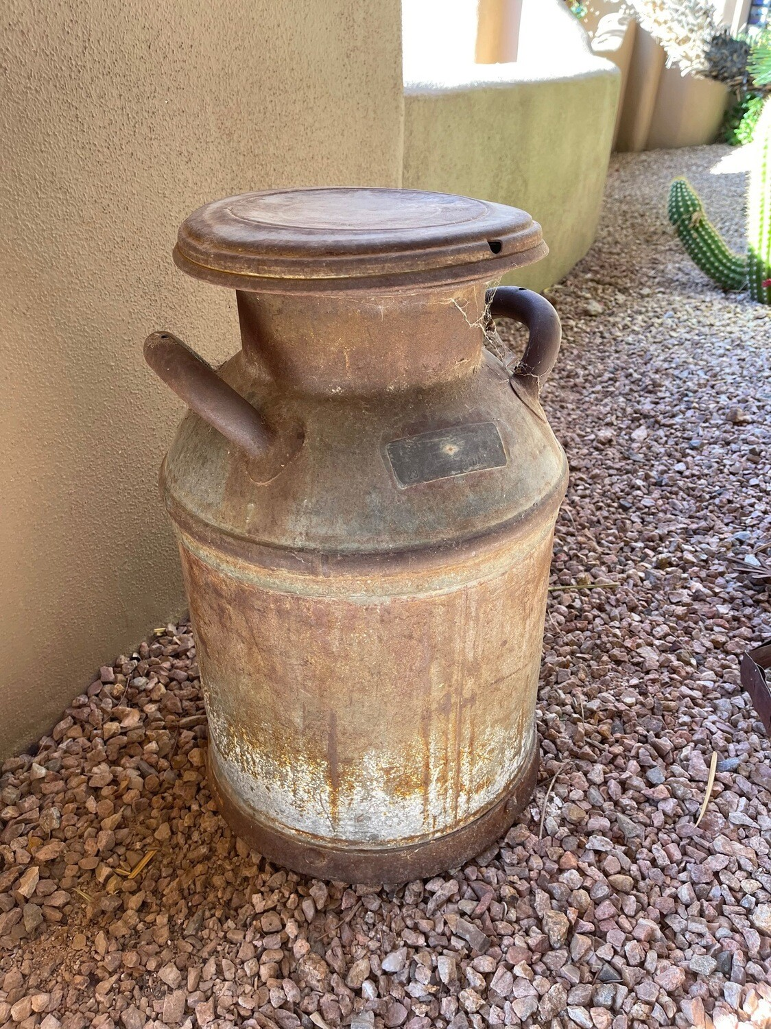 Old metal milk and outdoor yard Decor