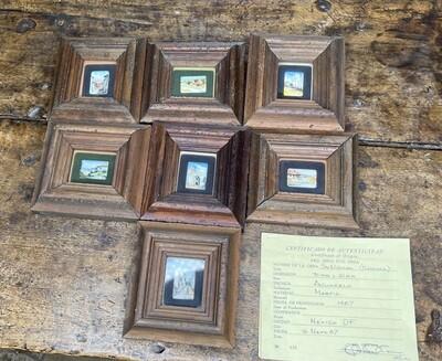 *Original* Set of 7 Jesus Ruiz Mejia Hand Painted Tiny Ivory Tiles