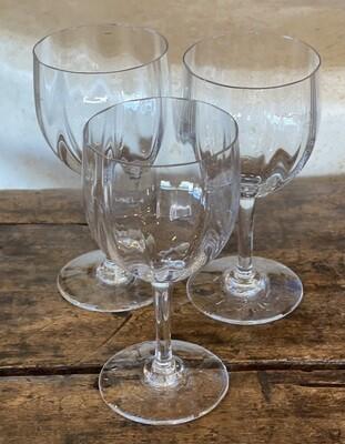 Set of 3 Baccarat Montaigne Optic Claret Wine Glasses