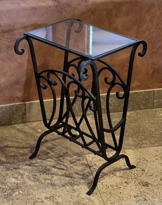 Wrought Iron Glass Top Side Table/Magazine Rack