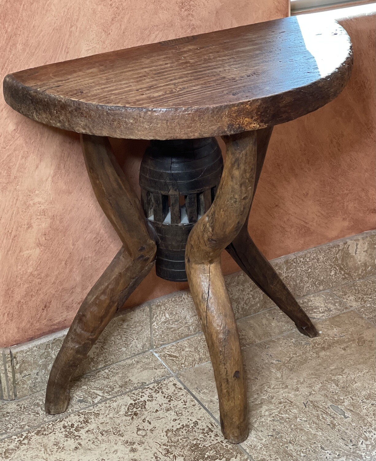 Rustic Reclaimed Wood Half Round Table
