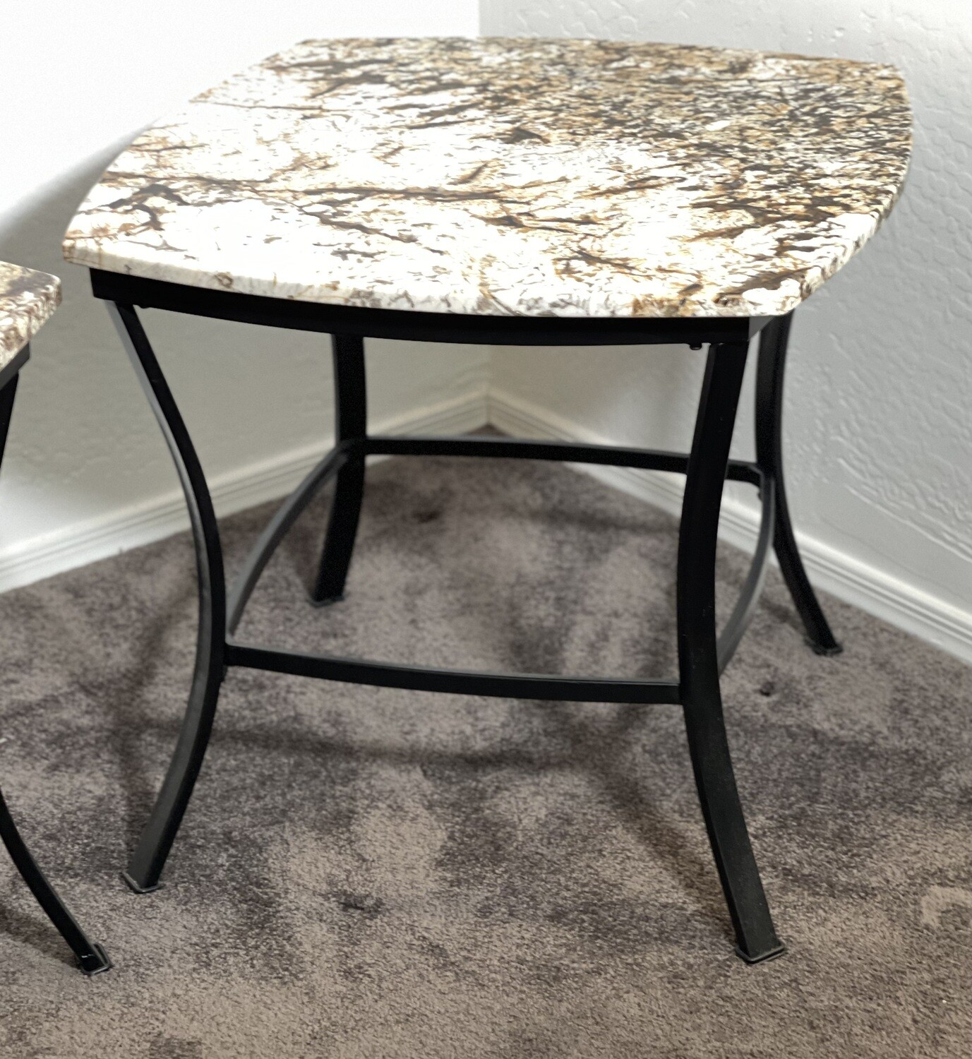 #2 Granite Top Iron Frame End Table