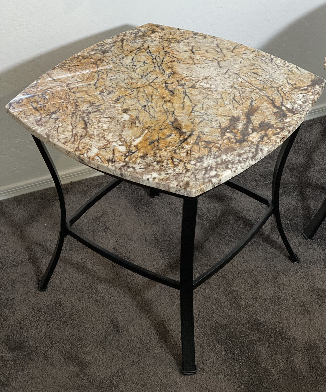 #1 Granite Top Iron Frame End Table