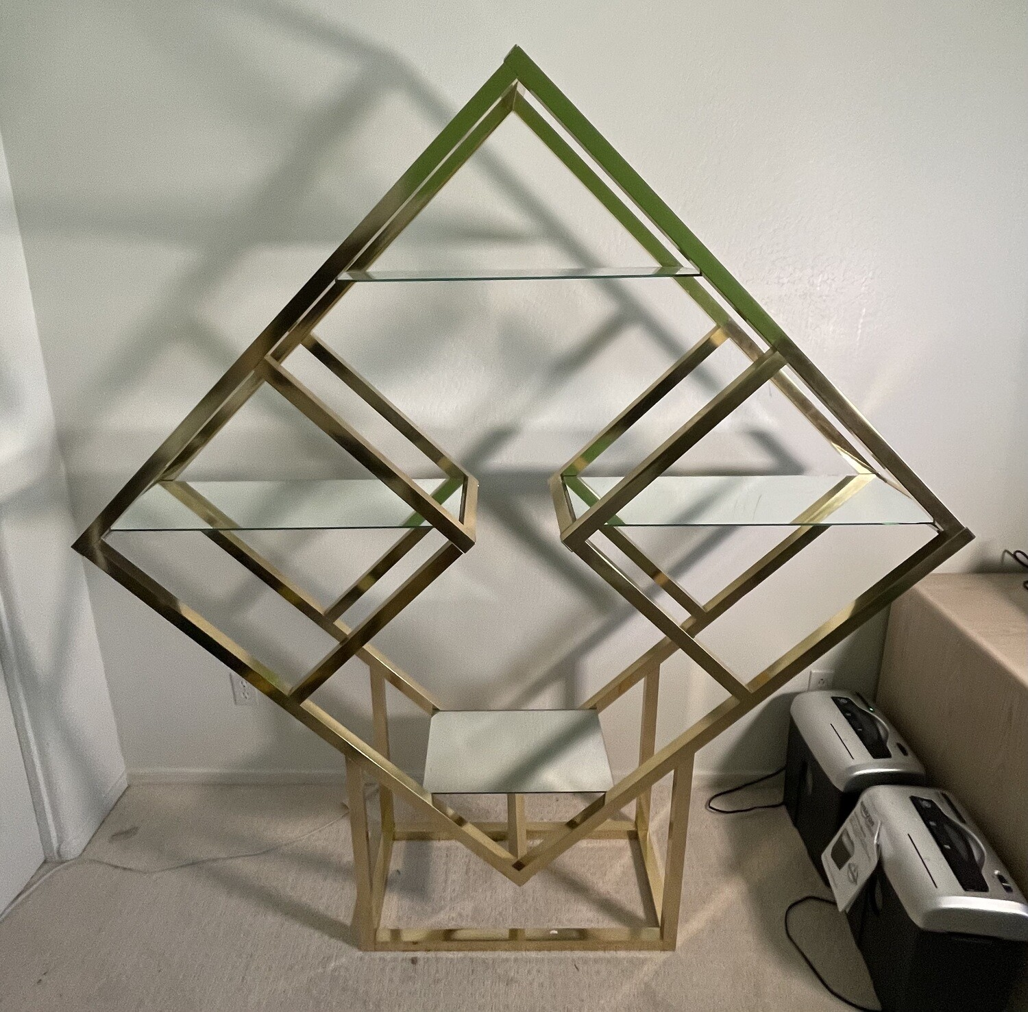 Gold/ Brass Diamond Sculptural Etagere Aluminum Shelf