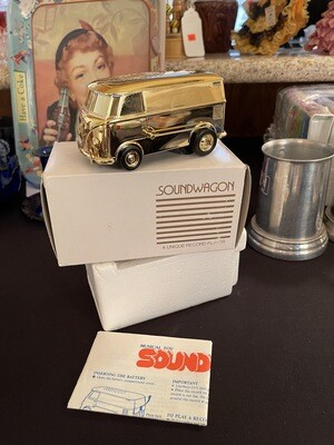 1970's Musical Toy Gold SOUNDWAGON VW Bus Record Player w/Box & Papers