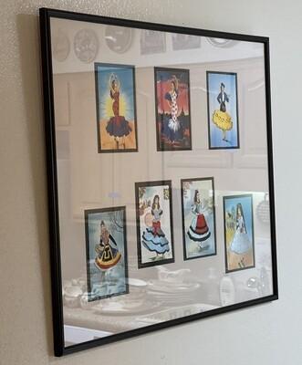 Framed Matted Spanish Elsi Gumier Spain Hand Embroidered Postcards