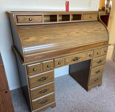 Faux Walnut Roll Top Desk