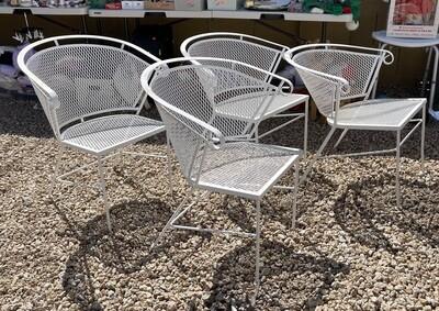 4pc Vintage Barrel Patio Chairs Wrought Iron Mesh Woodard