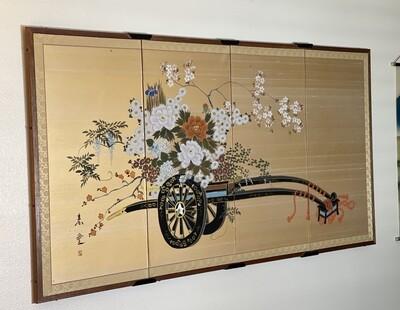 Japanese 4-Panel Silk Screen Flower Cart
