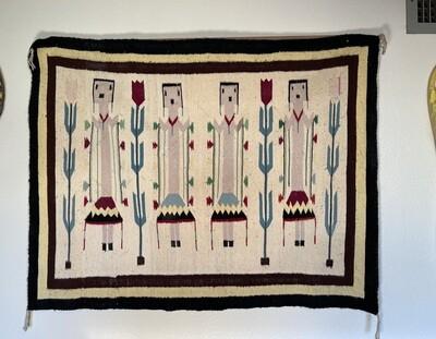 Navajo 4 Female Yei Vintage Wool Rug Native American