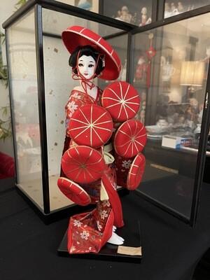 Vintage Nishi Oyama Doll In Case Nanamaigasa Scene From Japanese Drama Dohjohji