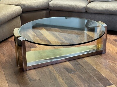 Gold, Chrome & Glass Contemporary Coffee/Cocktail Table