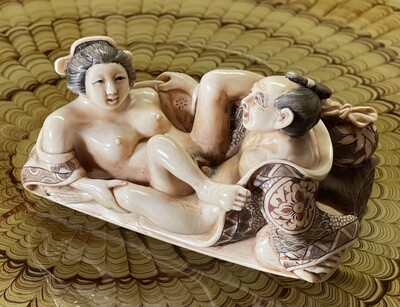 *Signed* Japanese Mammoth Ivory Carving  Erotic NETSUKE  #2