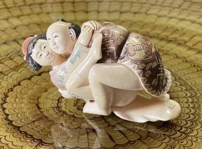 *Signed* Japanese Mammoth Ivory Carving  Erotic NETSUKE  #3