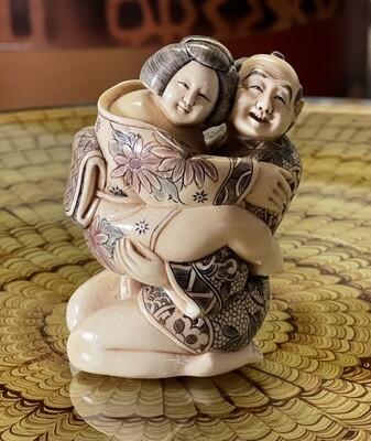 *Signed* Japanese Mammoth Ivory Carving  Erotic NETSUKE  #4
