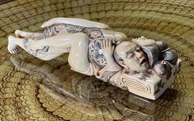 *Signed* Japanese Mammoth Ivory Carving  Erotic NETSUKE