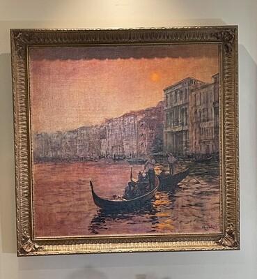 *Original* Art Alan Wolton Dusk-Venice Canal Scene Oil Painting