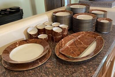 80pc Puiforcat Limoges France Porcelain China  Dinnerware Set Red Marble Rim